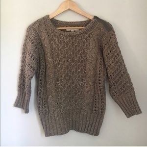 Ann Taylor 3/4 Sleeve Brown Knit Sweater